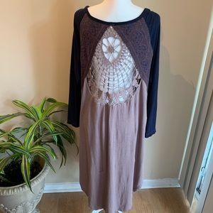 Free People Oversized Lace Crochet Tunic Dress